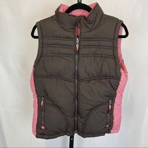 Big Chill Pink & Brown Reversible Puffer Vest, Lrg